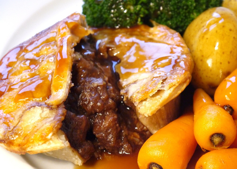 Steak pie with veg and gravy